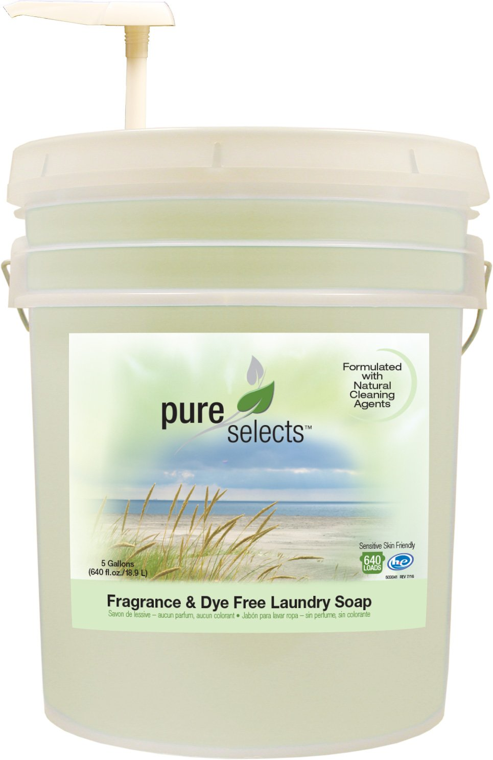 Pure Selects Fragrance & Dye Free Laundry Soap • All Natural • HE • 640 Loads • Sensitive Skin Friendly • 5 Gallons •NO ANIMAL TESTING • PUMP INCLUDED