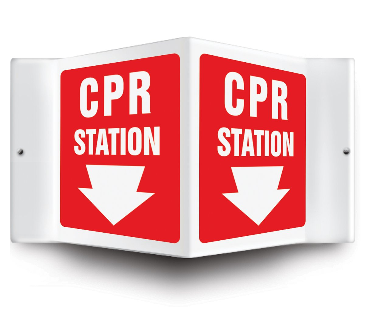 ARROW ARROW Pre-Drilled Mounting Holes 6 x 5 Panel LegendCPR STATION 0.10 Thick High-Impact Plastic 6 x 5 Panel 0.10 Thick High-Impact Plastic White on Red LegendCPR STATION Accuform Signs PSP604 Projection Sign 3D