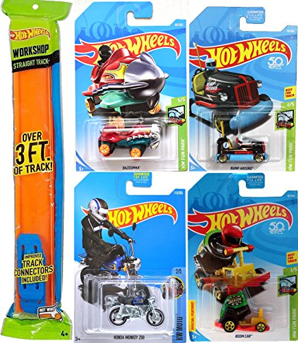 2018 Hot Wheels Fun Park Bump Around Car + Plane Bazoomka Cart Series Set Boom Car Stunt Cannon Theme park + Honda Monkey mini Bike with Orange Track IN PROTECTIVE CASES