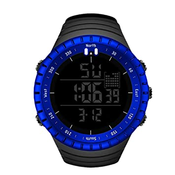 JINRU Reloj de Deportes de los Hombres, Todos los Relojes Digitales Reloj de Cuarzo electrónico Reloj Militar Negro LED,Blue: Amazon.es: Deportes y aire ...