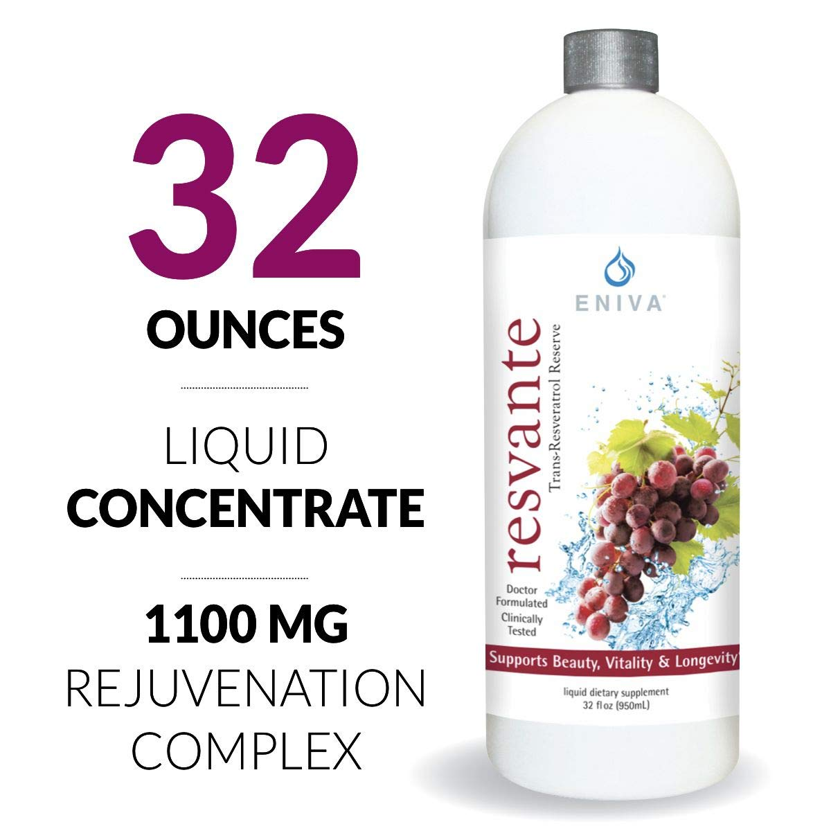 Resveratrol Supplement Anti-Aging Highest Potency Available Pure Eniva ResVante Liquid - 32 Ounce by Eniva Health