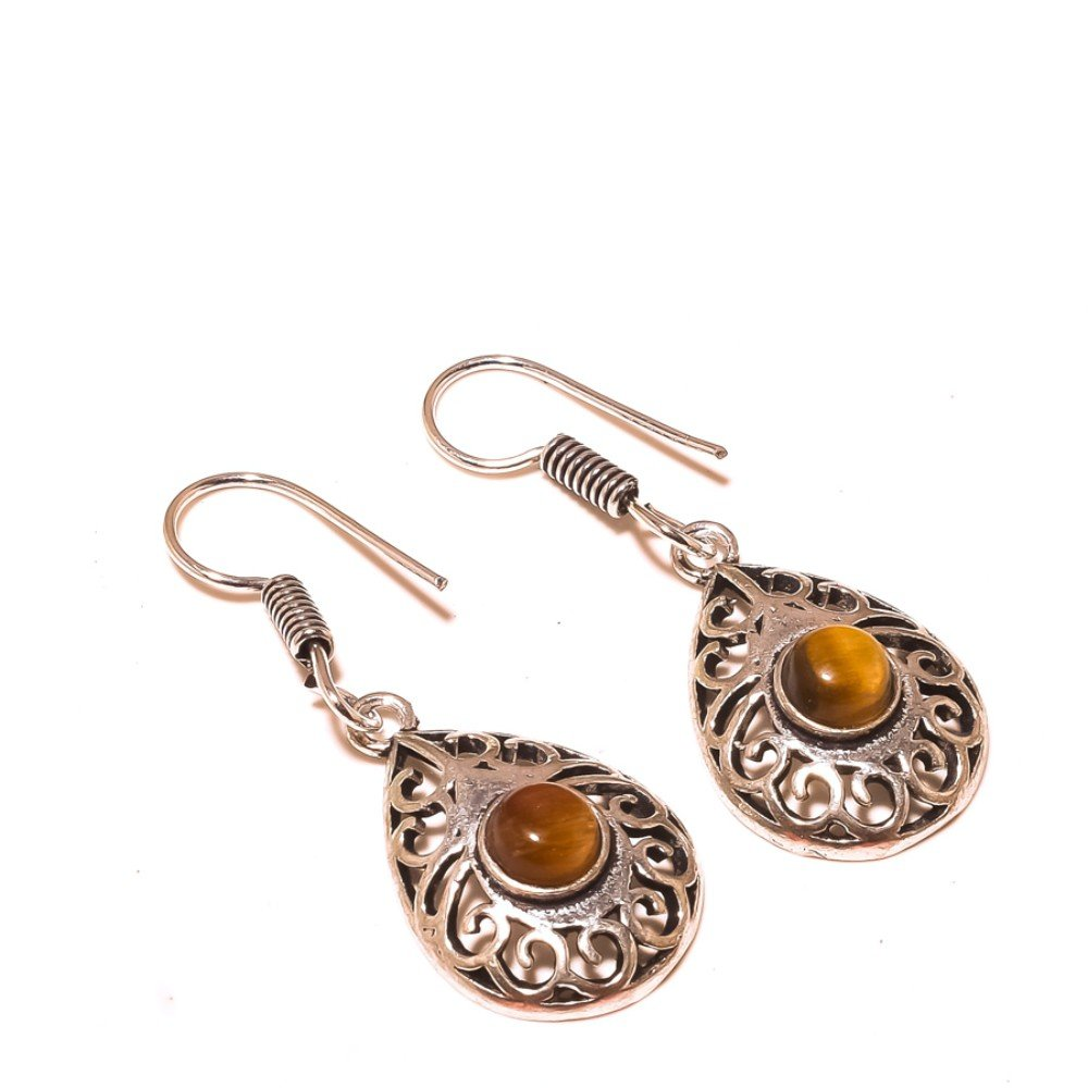 Brown Tiger Eye Sterling Silver Overlay 7 Grams Earring 1.75 Long Designer Gift