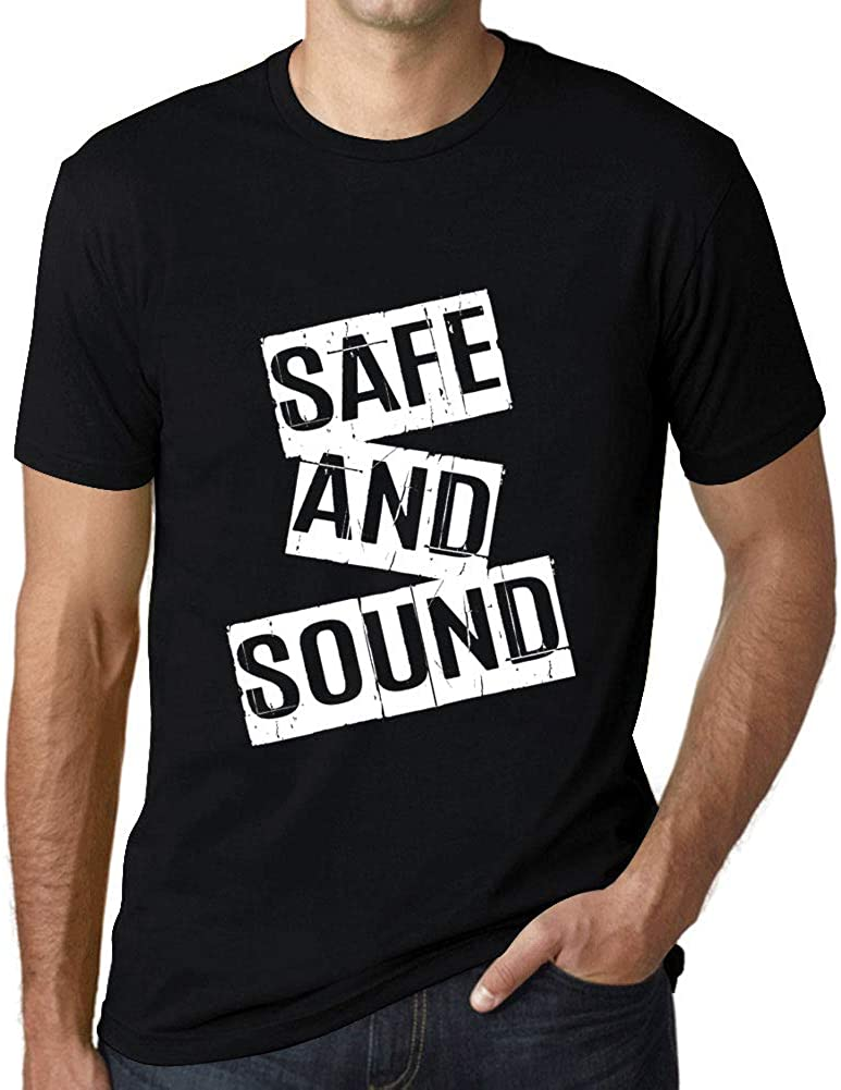 Ultrabasic - Men's Graphic Save and Sound Gift T-Shirt Letter Print Tee Deep Black