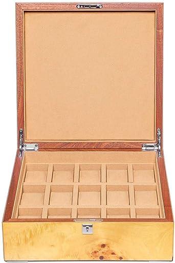 15 Grids Caja De Relojes, Sólido Madera Exhibición De Relojes Organizador, Estuche para Reloj Caja De Almacenamiento: Amazon.es: Relojes