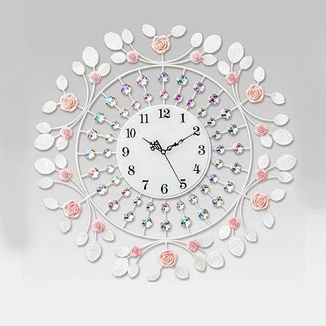 WSS Orologio da parete Moderno orologio da parete elegante minimalista  elegante fiore di rosa Orologio da