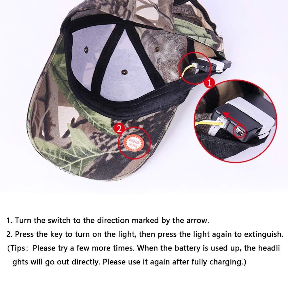Long Brim SIKOYA Baseball Bump Hat Cap with 5 LED Flashlight Brim Lighting