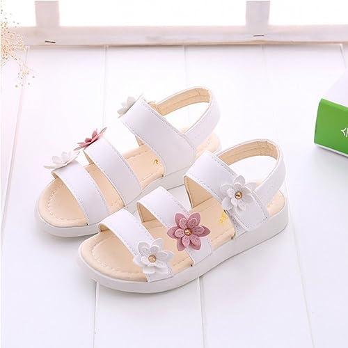 anbiwangluo Sandali per bambini Scarpe da Bambina Principessa Flower Sandali da Spiaggia per bambini (CN35 (Completo per EU34), Giallo)