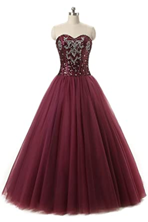 BanZhang Womens Cheap Sequin Tulle Ball Gown Long Quinceanera Prom Dresses BZ301 Burgundy 2
