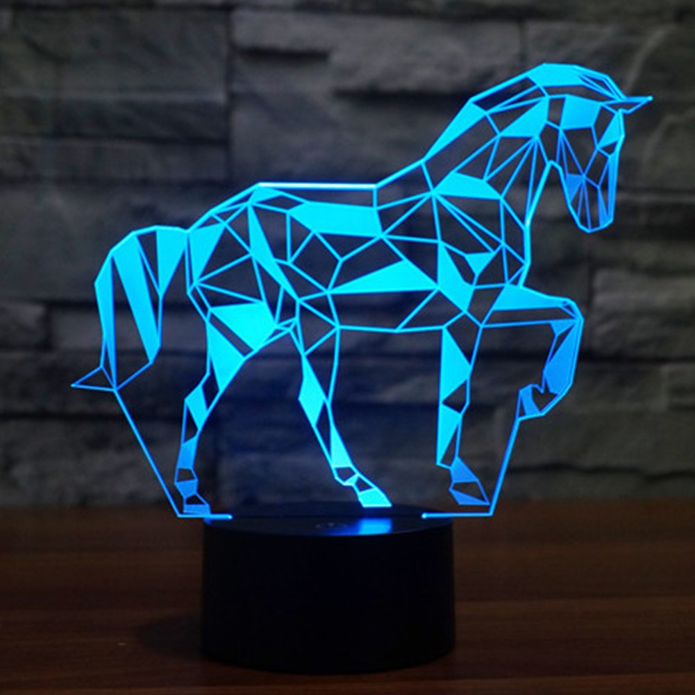 Horse 3D Illusion Night Lamp YKL WORLD Touch Table Light 7 Color Changing USB Bed Room Decor Birthday Present Christmas Gifts for Girls Horse Lover