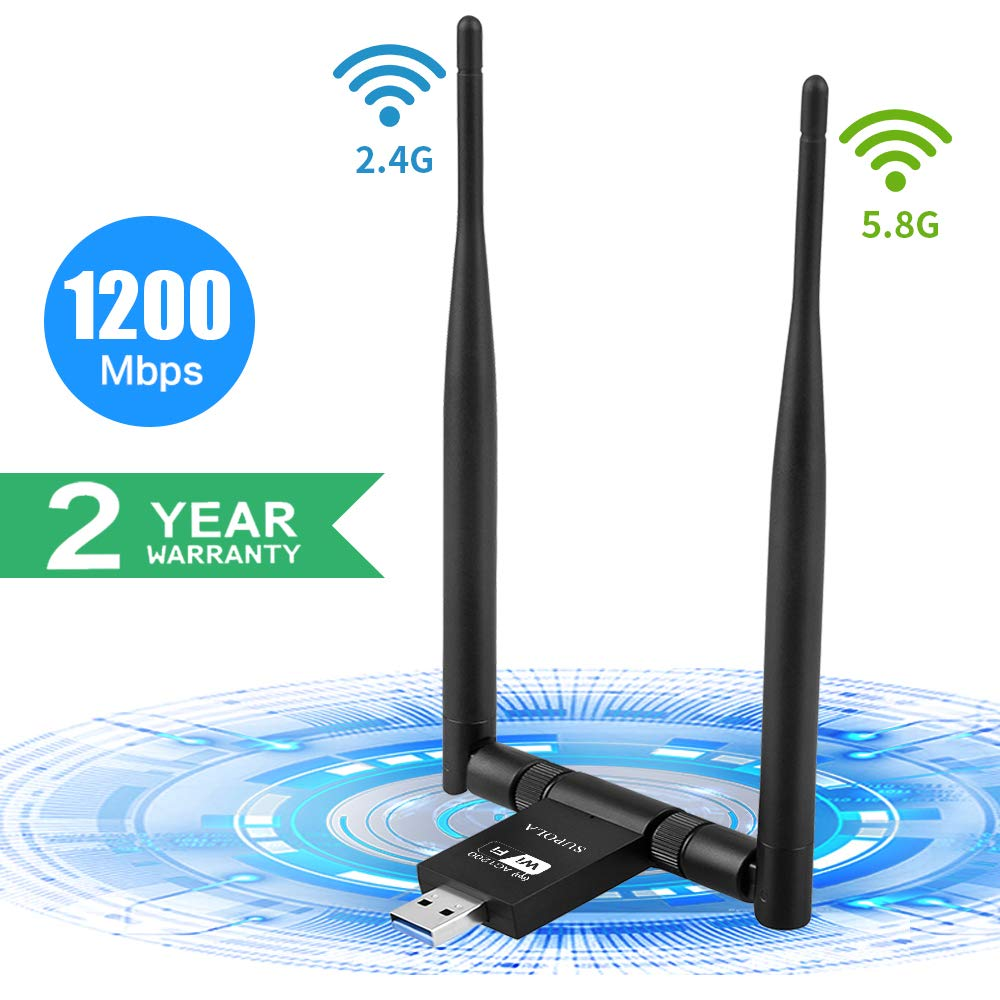 WiFi USB Adaptador 1200Mbps, SUPOLA Antena WiFi 5dbi Wireless Network USB 3.0 Dual Band 2.4