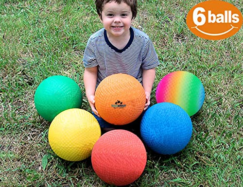 (ToysOpoly Playground Balls 8.5 inch Dodgeball (Set of 6) Kickball for Kids and Adults - Official Size for Dodge Ball, Handball, Camps, Picnic, Church & School + Free Pump & Mesh Bag)