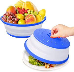 Microwave Splatter Cover for Food,Vented Collapsible Plate Dish Containers Guard Lid with Holes for Hanging,Suitable for Washing Fruits and Vegetables,BPA-Free Silicone & Plastic Safe - 2PC Blue