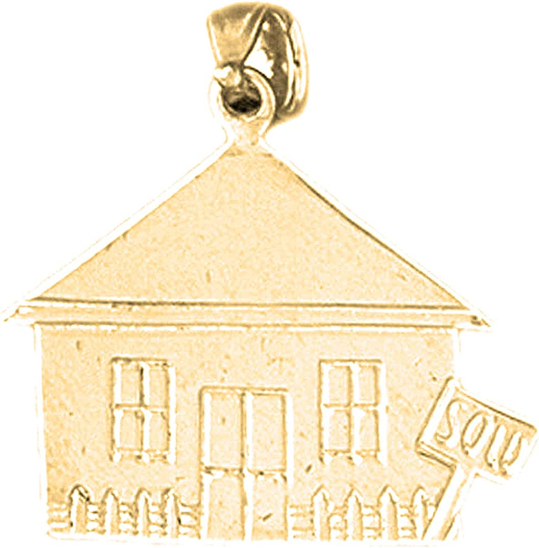 Jewels Obsession Silver Sold House Pendant 14K Yellow Gold-plated 925 Silver Sold House Pendant