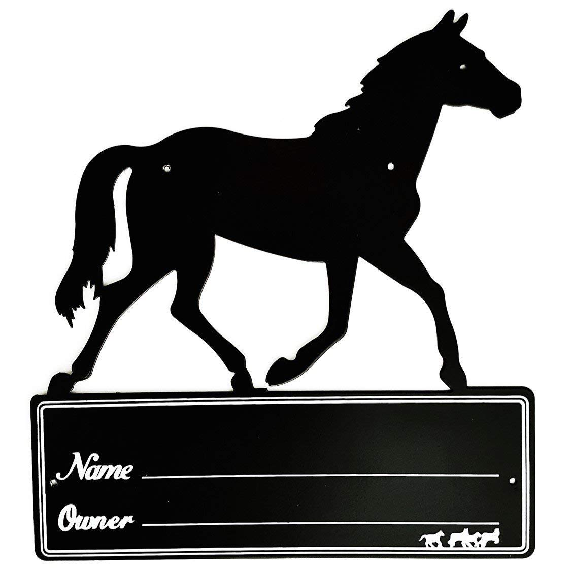 Black Heavy Duty Steel Large Horse Stall Stable Name Plate