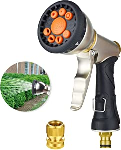Garden Hose Nozzle Sprayer,Metal Spray Nozzle with 9 Adjustable Patterns,Multi-Function Water Hose Nozzle Best for Hand Watering,Plants,Lawn,Car&Pets Washing