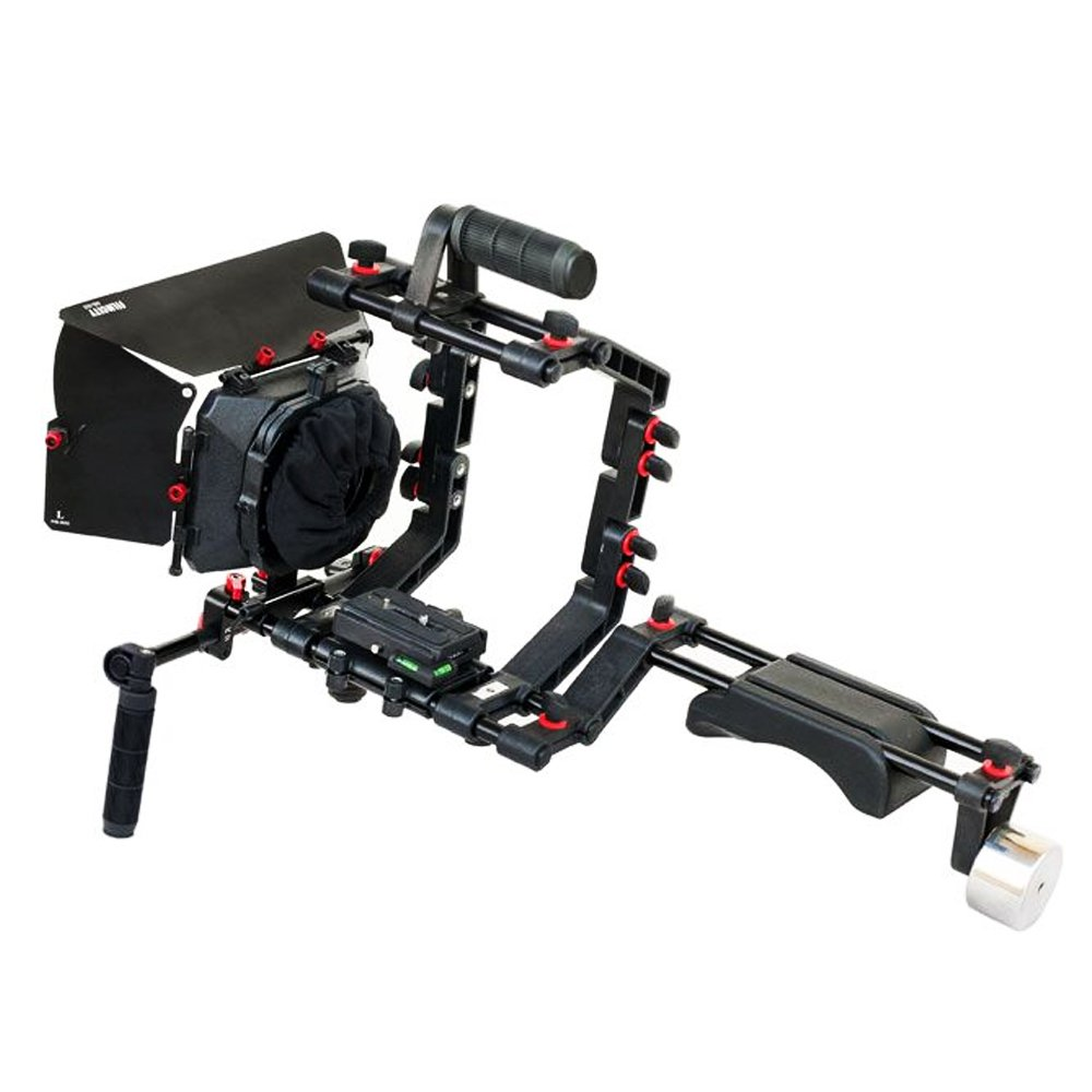 FILMCITY DSLR Camera Shoulder Support Rig Kit with Cage & Matte Box | DV HDV DSLR Video Camcorders Compatible | Free - Offset Z Bracket (FC-02) by FILMCITY