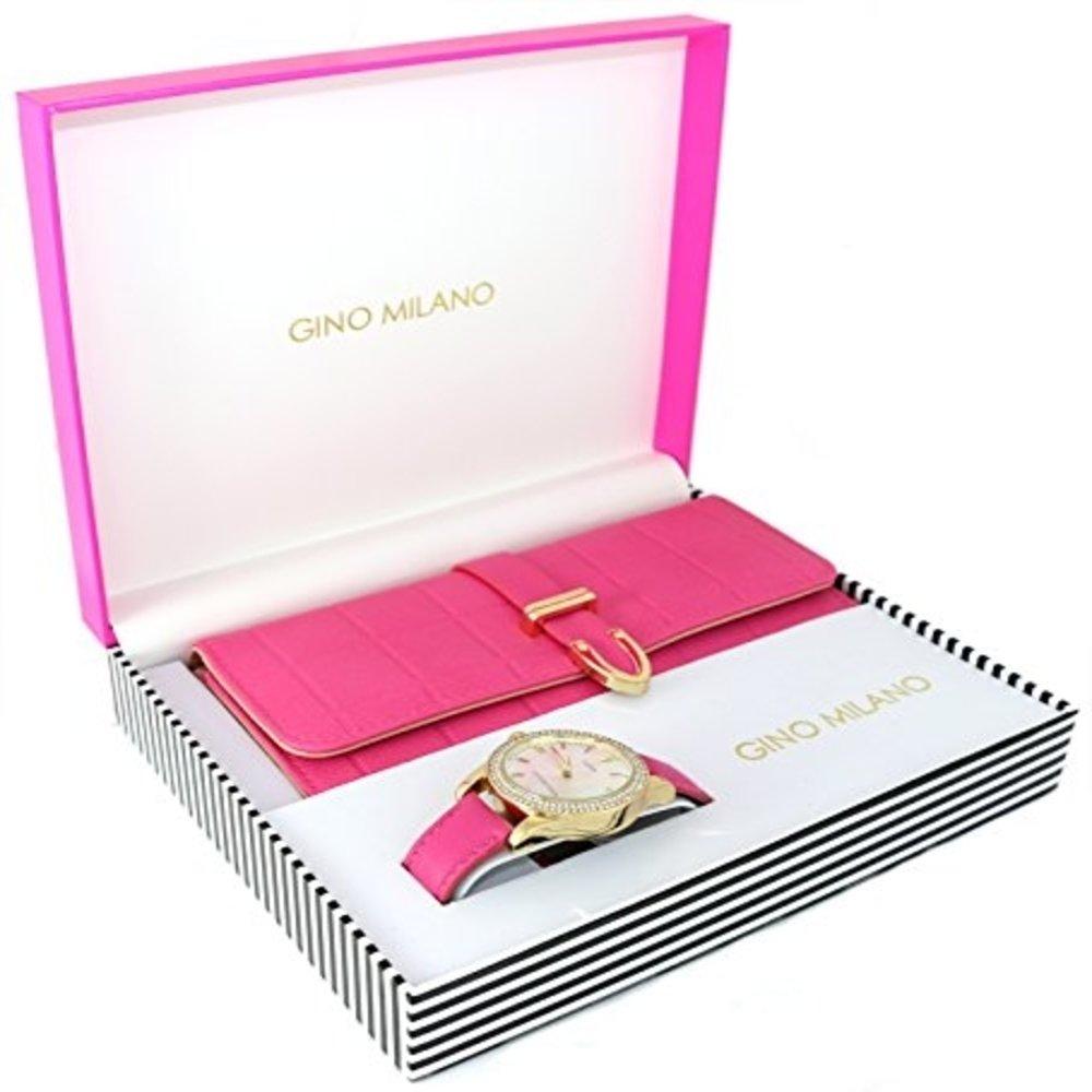 Women's Matching Watch & Wallet Gift Set - Pink