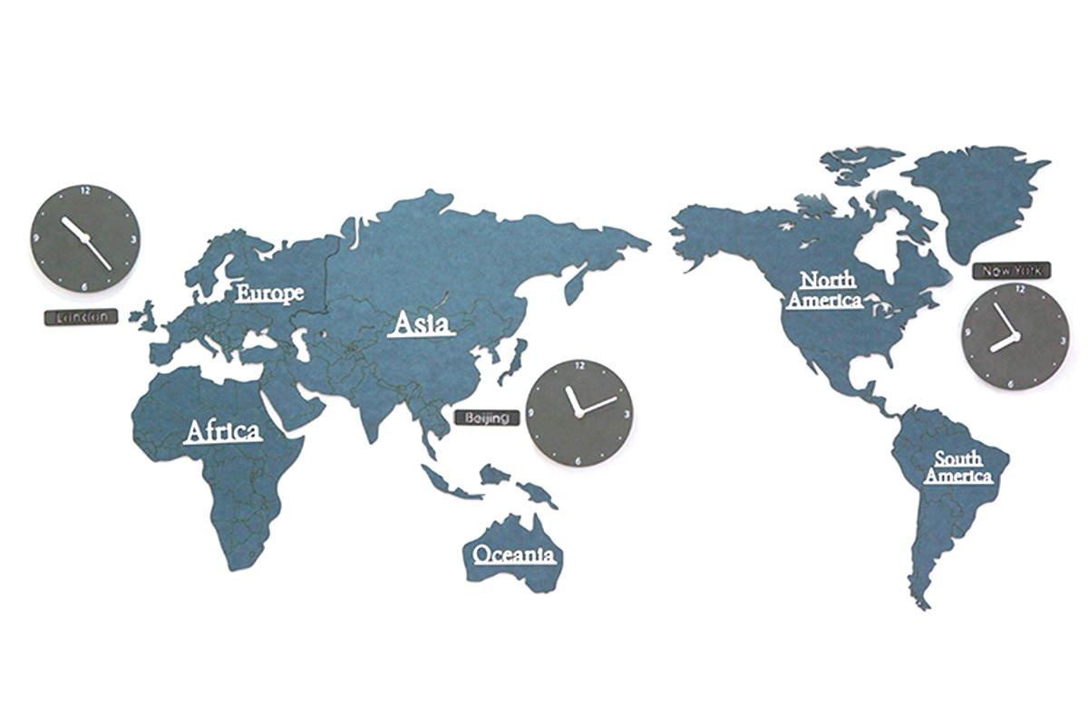 GREEM MARKET(グリームマーケット) 選べるカラー 壁掛け時計 掛け時計 大きい 特大 ウォール クロック シンプル ナチュラル 北欧風 木製 世界地図 ワールド くすみ色 ネイビー 藍 品番:GMS01522-N B079M2SRVT ネイビー ネイビー
