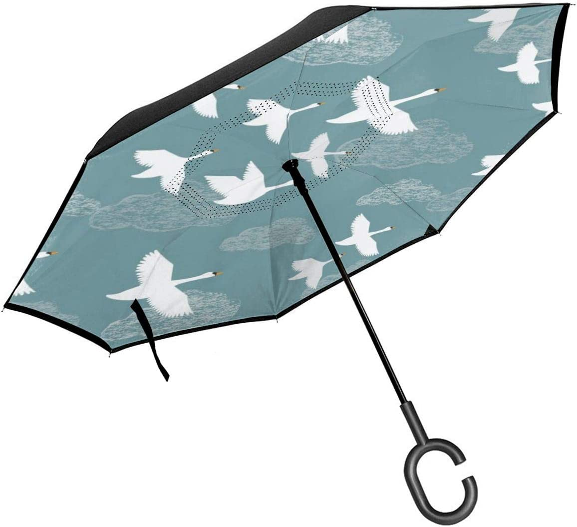 Self Stand Upside Down with C-Shaped Handle PYFXSALA Crane Flying Windproof Inverted Umbrella Double Layer UV Protection Folding Reverse Umbrella for Car Rain Outdoor
