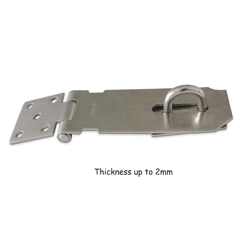 Brushed Finish YUEPIN 2 Pack Latch Door Buckle,304 Stainless Steel Security Door Wooden Door Hasp for Pet Gate,Cabinet Furniture Window Wardrobe