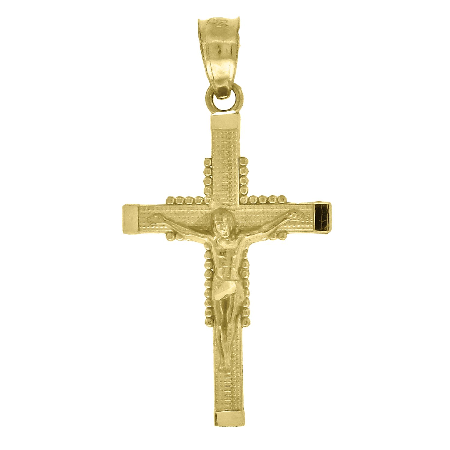 Jewels By Lux 10kt Gold Textured Unisex Cross Crucifix Ht:26.9mm x W:13.9mm Religious Charm Pendant.