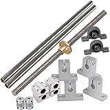 Mxfans Horizontal 8mm Lead Rod 200mm Optical Axis Dual Rail Support Bearing Set