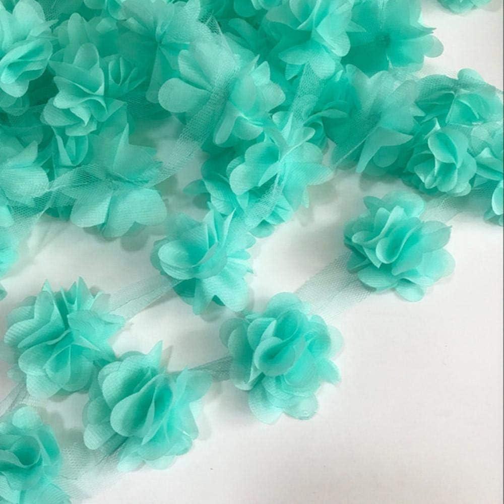 10 DACCU 12 st/ücke Blumen 3D Chiffon Cluster Blumen Spitzenkleid Dekoration Spitze Stoff Applique Trimmen N/ähzubeh/ör