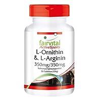 L-ornithine and L-arginine 350mg / 350mg - for 22 Days - Vegan - HIGH Dosage - 90 Tablets - Amino acids