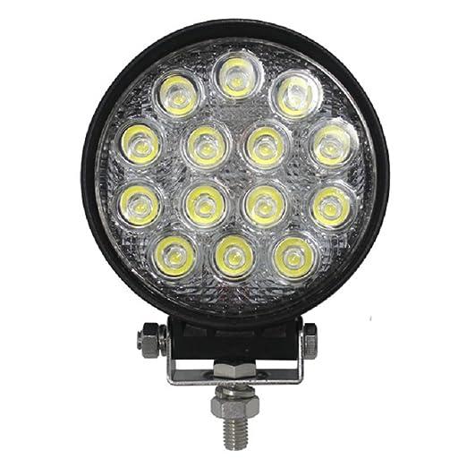 Wisdom - Foco LED redondo de trabajo, producto profesional impermeable y de inmersión IP68, de 42 W=370 W incandescente, 3900 lúmenes, luz blanca fría ...