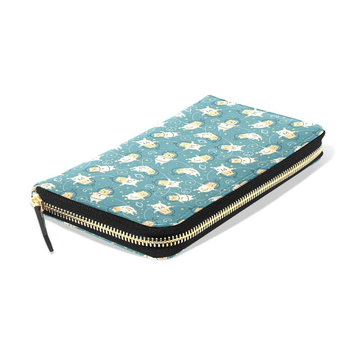 Women Cute Bear Stronauts Blue Leather Wallet Large Capacity Zipper Travel Wristlet Bags Clutch Cellphone Bag