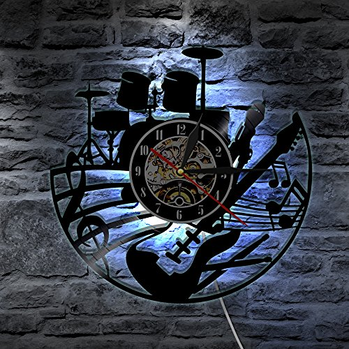 Decorative music instrument design handmade vinyl record wall clock with background light-The Day of Dead dia de los Muerte Mexican - Wonderful bedroom or rest room wall art decoration
