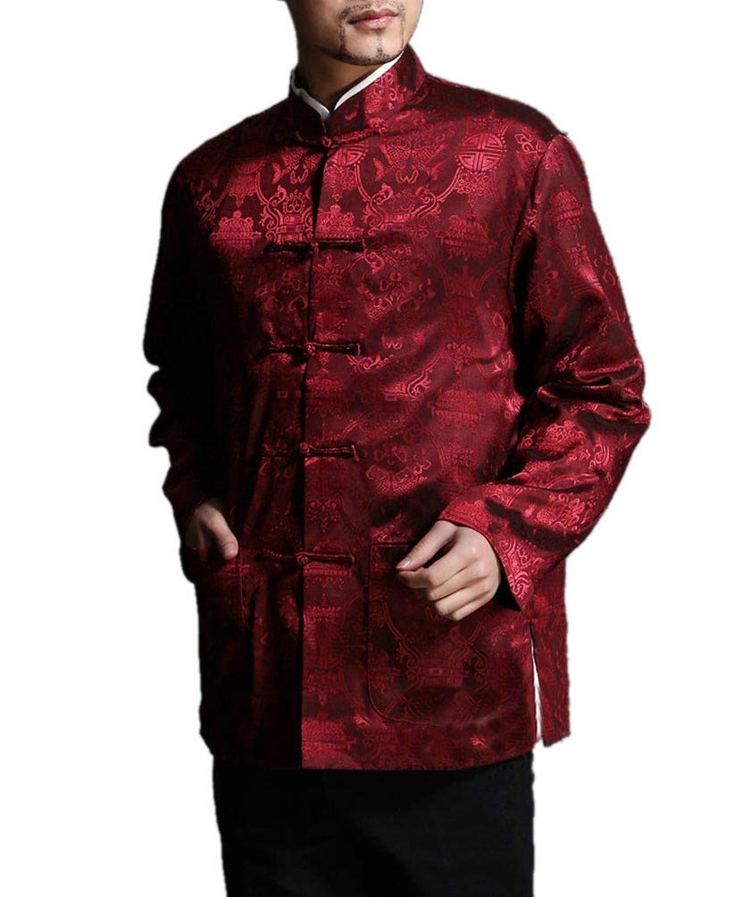 Chinese Tai Chi Kungfu Reversible Red/Black Jacket Blazer 100% Silk Brocade #101 + Free Magazine by Interact China