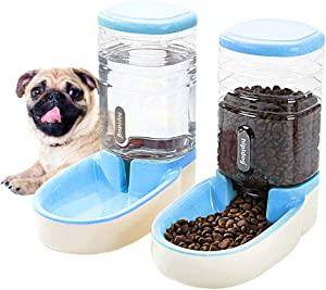 Happycat Pets Gravity Food and Water Dispenser Set,Small & Big Dogs and Cats Automatic Food and Water Feeder Set,Double Bowl Design for Small and Big Pets (Blue)
