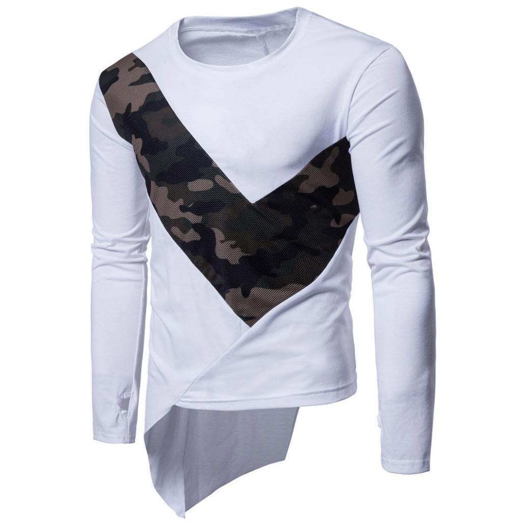 AKIMPE Mens Long Sleeve Multicolor Printed Pullover Sweatshirt Top Tee Outwear Blouse