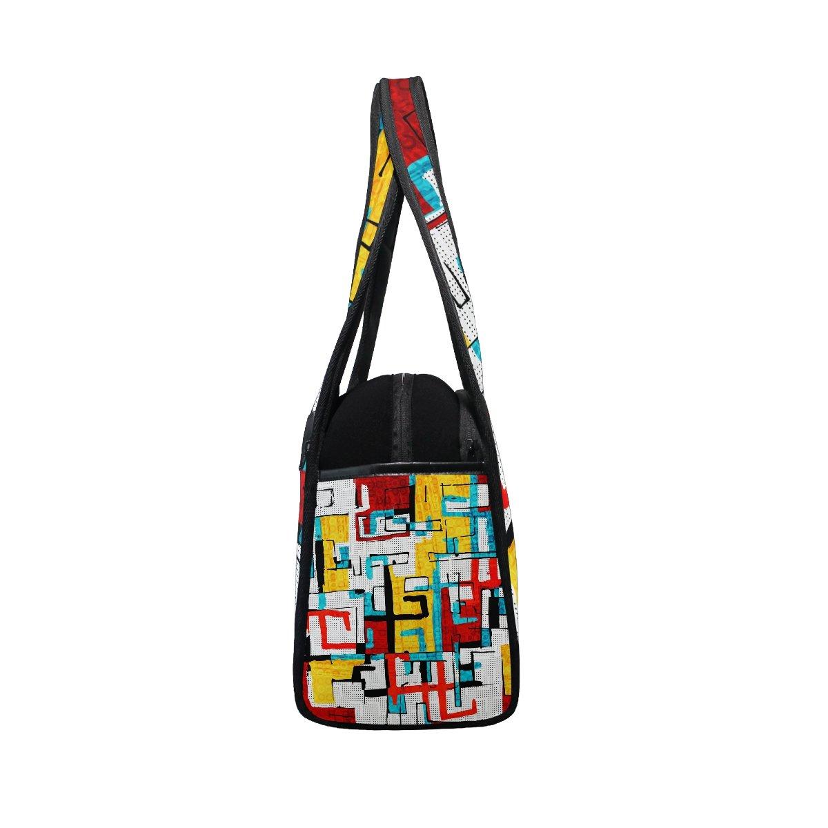 Gym Bag Sports Holdall Abstract Graffiti Hip Hop Canvas Shoulder Bag Overnight Travel Bag for Men and Women