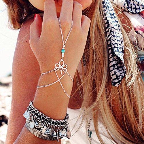 Generic Fashion Retro Bracelet Finger Ring Bangle Slave Chain