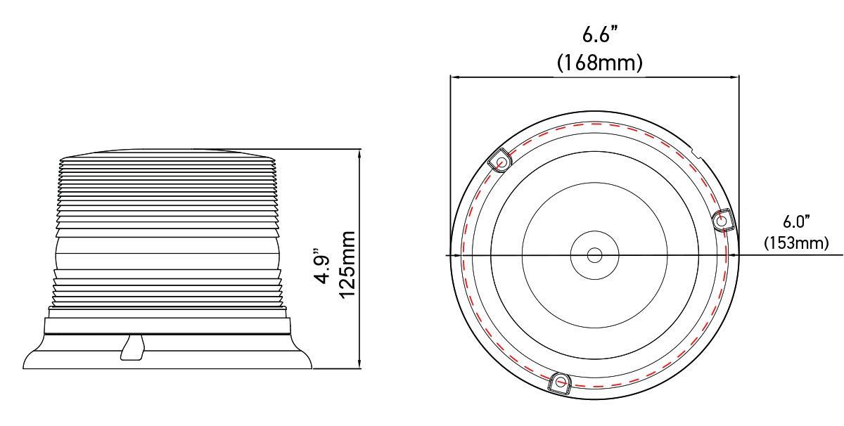 Flashing Patterns 11-110VDC Waterproof Amber HELLA H27115011 K-LED 40 Compact Magnetic Mount Beacon Warning Light
