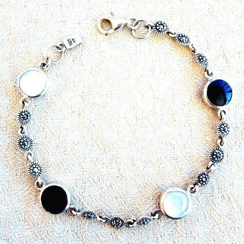 Black+White Onyx & Mother-of-Pearl Stones Bracelet Marcasite 925 Sterling Silver - Bracelet Marcasite Of Mother Pearl
