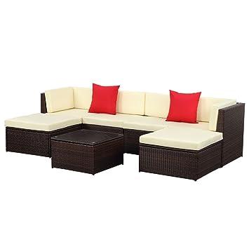 IKAYAA H0066 - 7 Piezas Conjunto de Muebles de Minbre para Jardín ...
