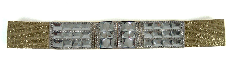 1164 StarDance Women's Jeweled Fine Fashion Elastic Belt (Medium (Waist 28''-30''), Gold)