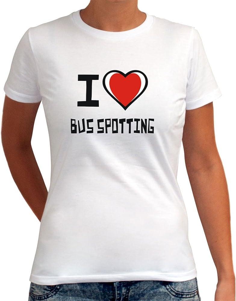 I love detectar T-camiseta de manga corta de mujer para senderismo de autobús de dos pisos: Amazon.es: Ropa y accesorios