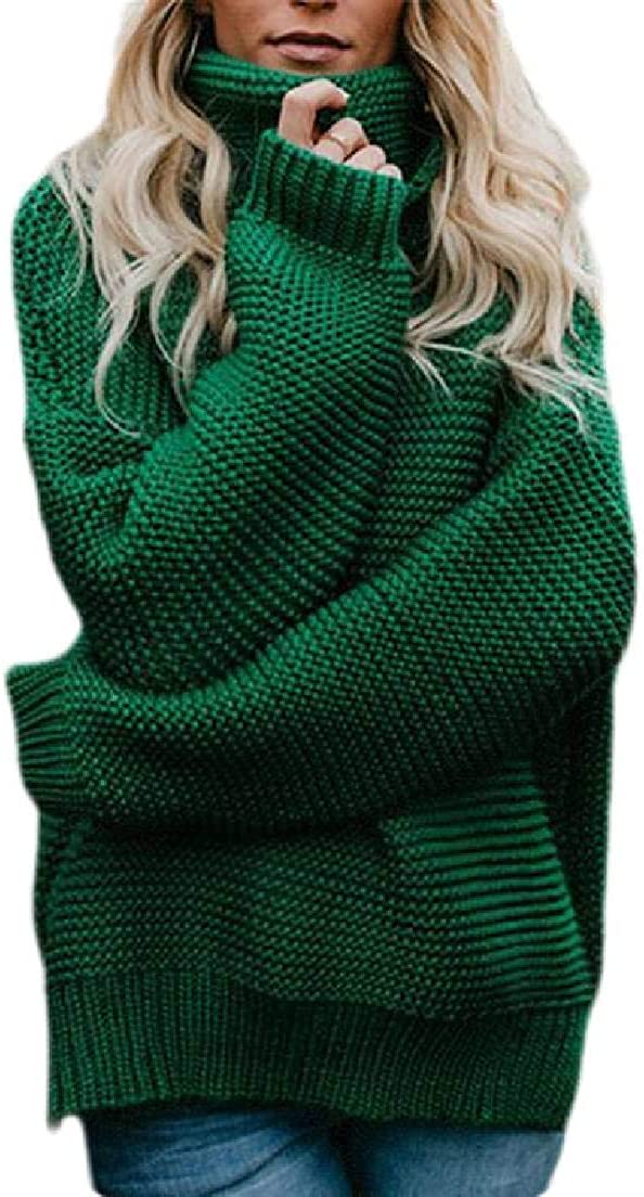 Abeaicoc Womens Jumper Knit Sweater Long Sleeve Pullover Turtleneck Sweater Tops