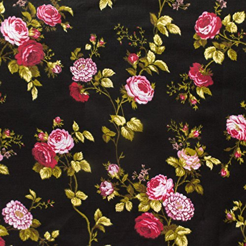 Fabric Floral Rose (Floral Rose Poly Cotton 60 Inch (Black))