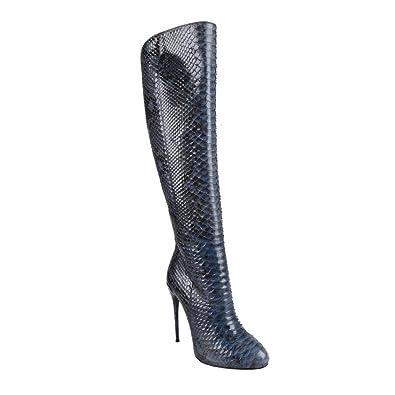 5b7e736e445 Amazon.com: Gucci Women's Python Skin High Heels Knee-High Boots ...