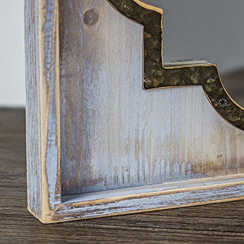 Crystal Art Whitewashed Rustic Wood & Metal Vanity Mirror (Square), Farmhouse Wall Décor, Multicolor by Crystal Art (Image #2)