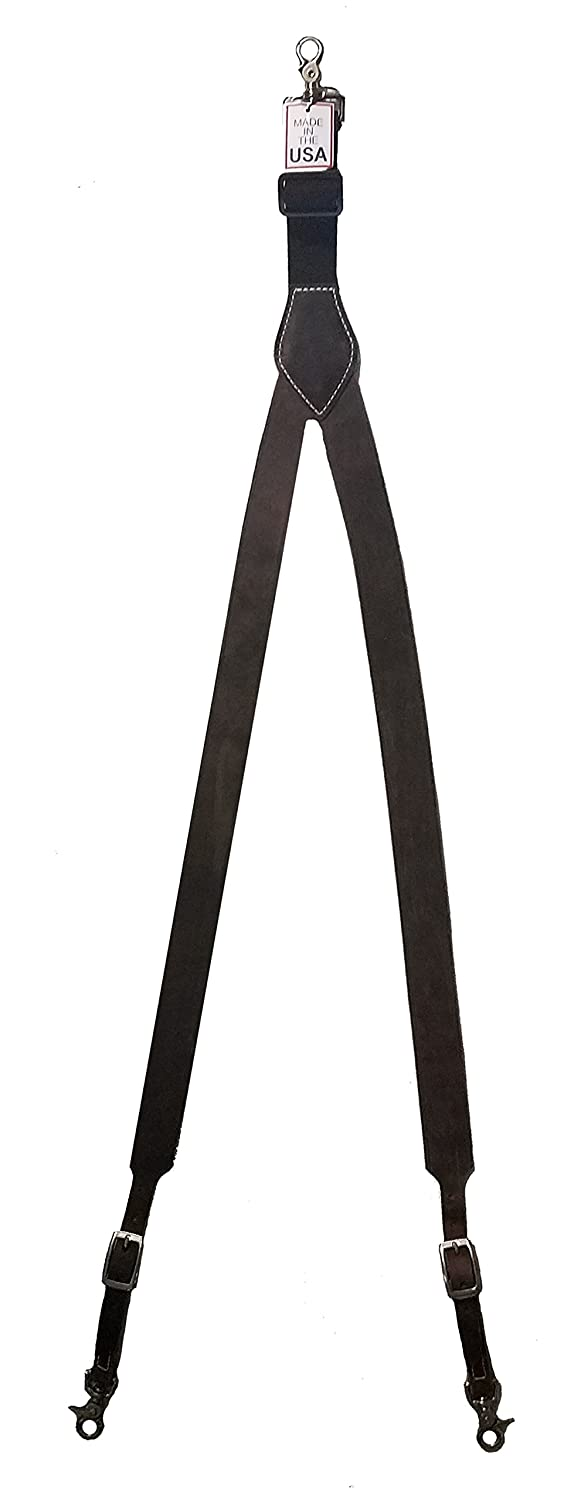 Custom Shriner Scimitar and Crescent Leather suspenders in Black Made in the USA