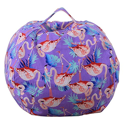 Dodd Kid's Stuff'n Sit - Stuffed Animals Storage Bean Bag Pouf -Available in 3 Sizes- Clean up the Room and Put Those Critters to Work for You,Flamingo (18 inch) by Dodd