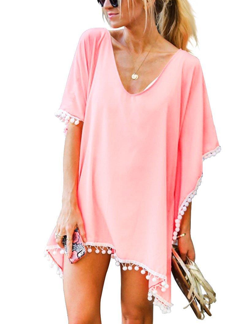 MOLERANI Women's Pom Pom Trim Kaftan Stylish Chiffon Swimwear Beach Cover up (S/M, Light Pink)