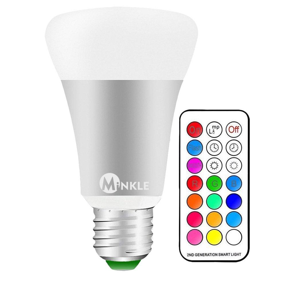LED RGBW Lampe mit Fernbedienung, 10W A19 E27 Base Dimmbare Birne ...