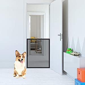 EXPAWLORER Pet Safety Magic Gate, Upgraded Mesh Single Gate, Portable Folding Anywhere Installed Safety Guard for Dogs